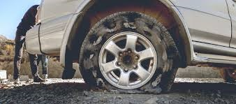 Flat tire due to sharp object
